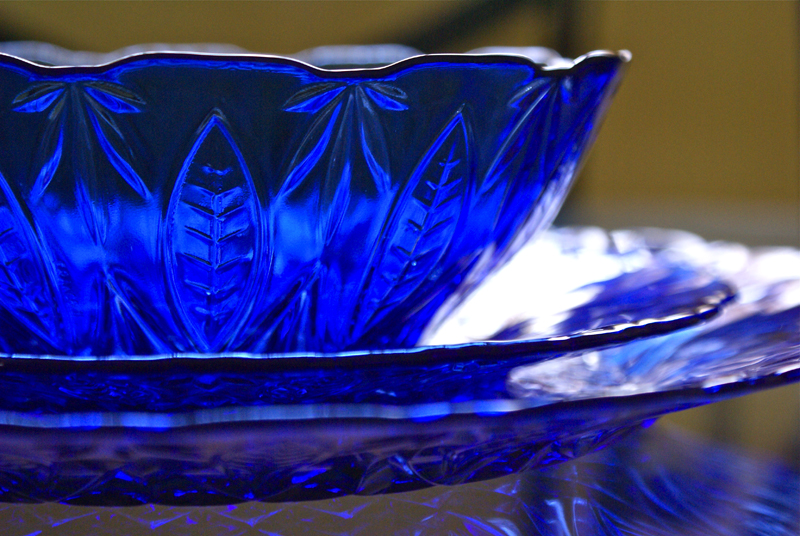 Blue glass dish set that my mom bought for me when I was 16