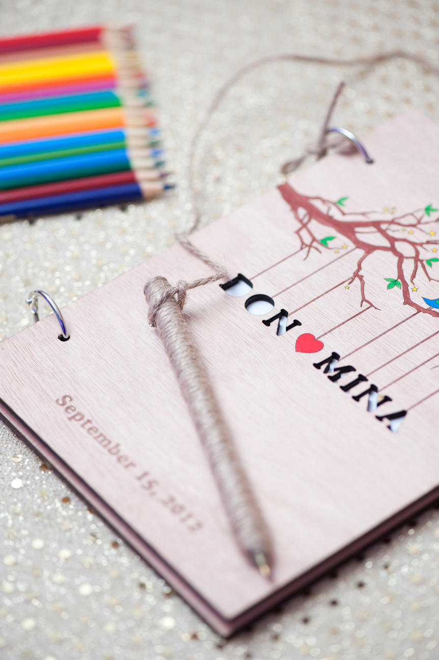 Our personalized guestbook and accompanying pencil crayons