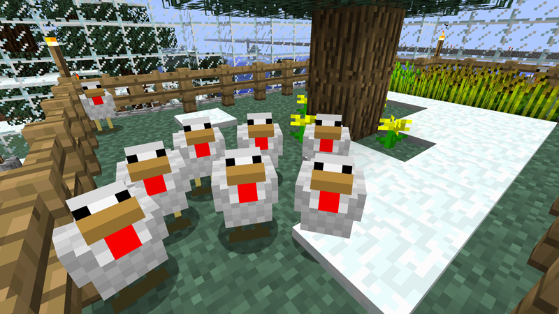 My roof chickens in Minecraft