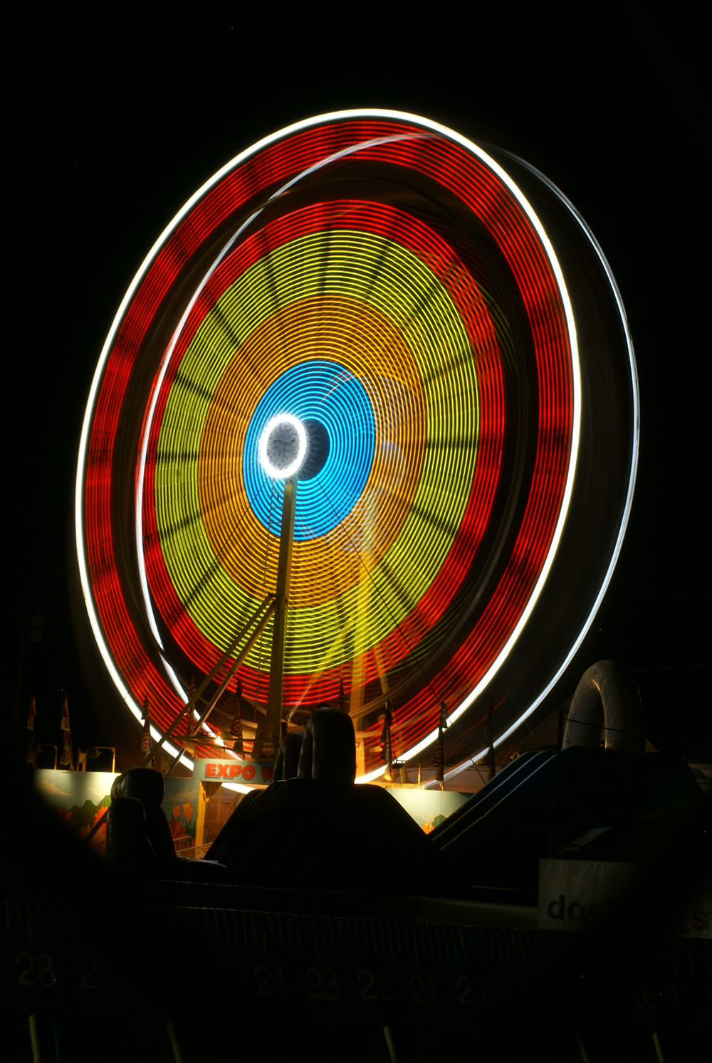 A longer exposure shot of the Ferris wheel