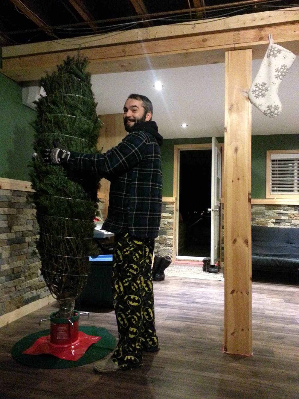 Last but not least, our very first real Christmas tree in progress!