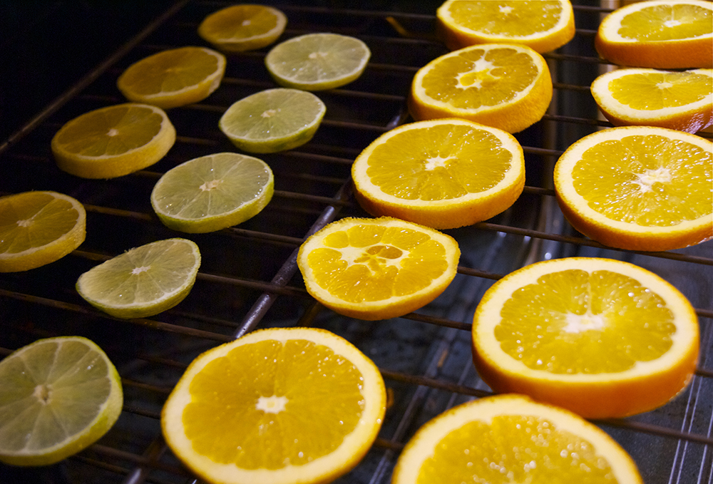 Oven dehydrating some citrus fruit for holiday gifts