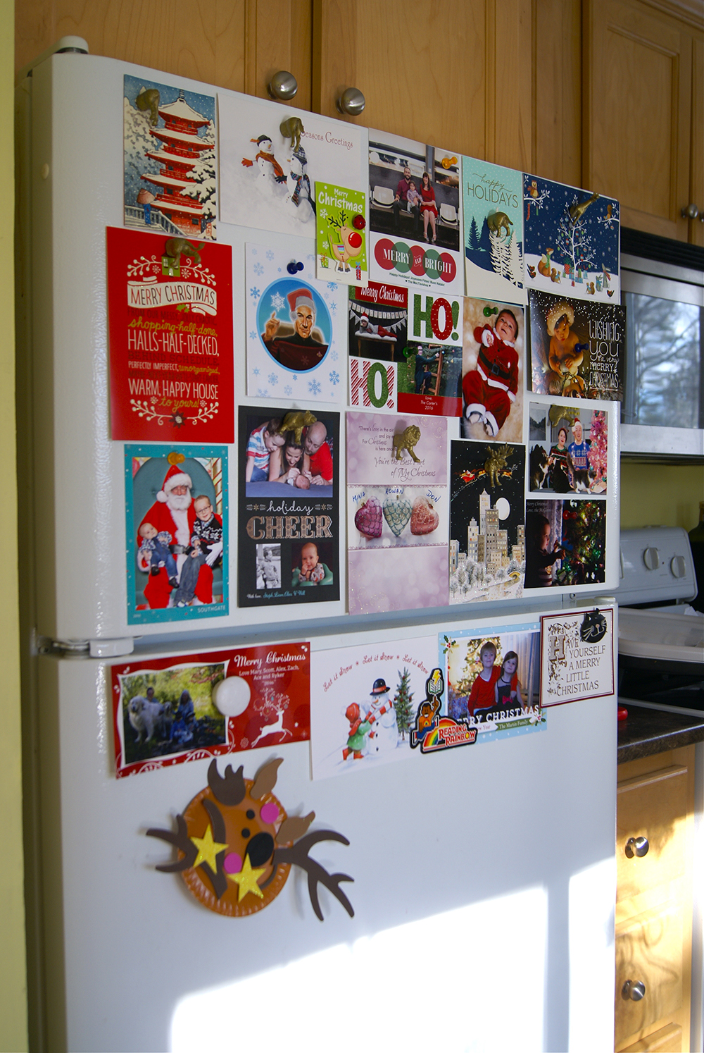 Holiday greeting love on our fridge